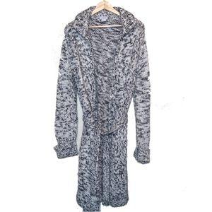 Loft Long Chunky Knit Cardigan Black White Large